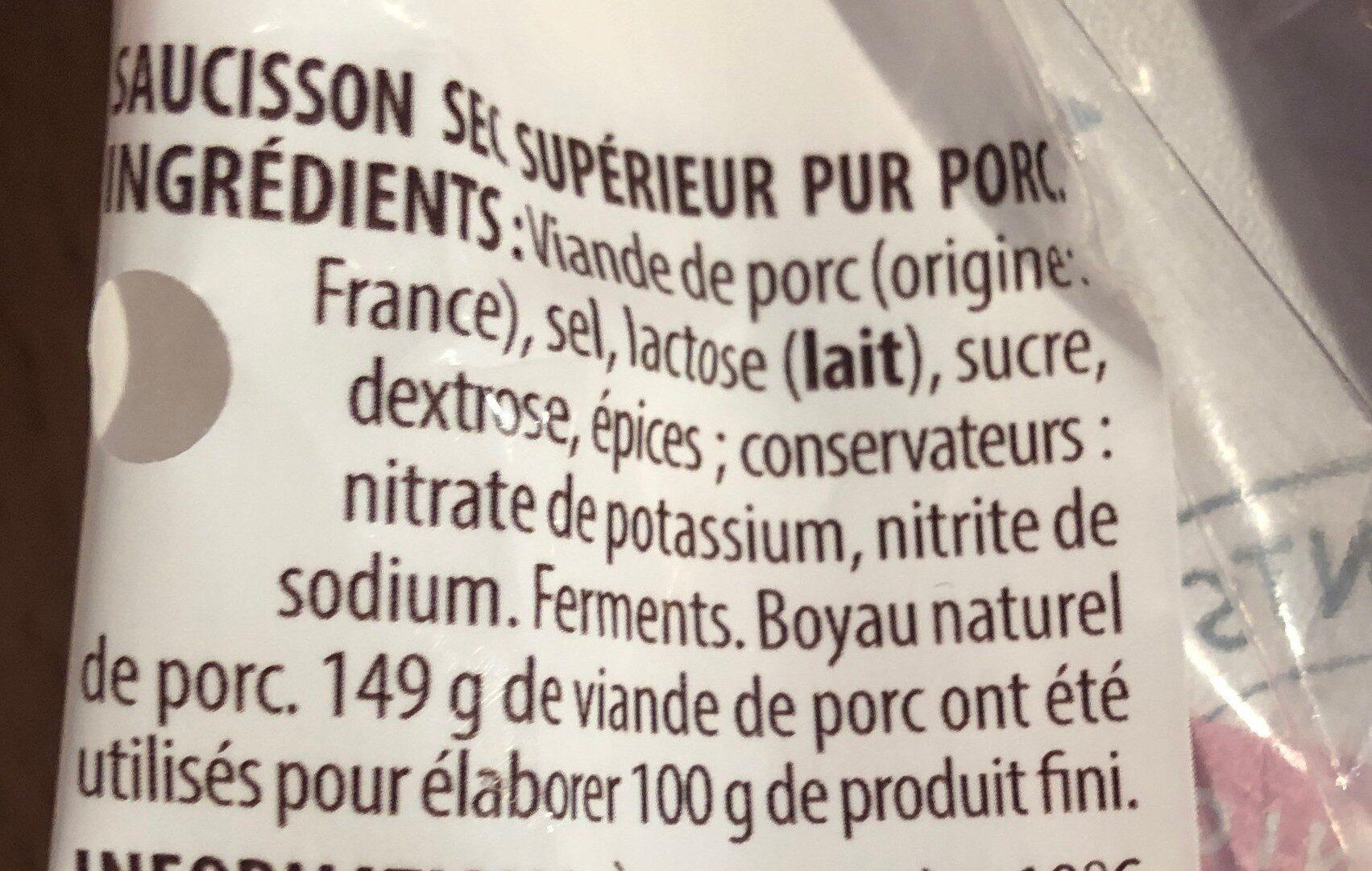 Le Tendrichon Pur Porc - Ingrediënten
