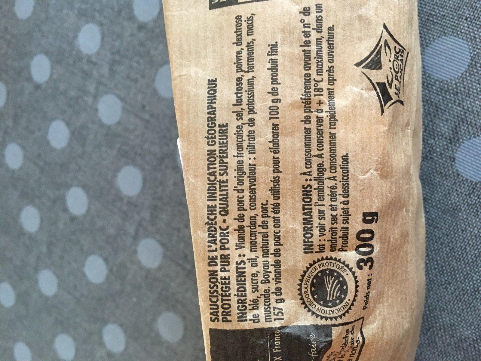 Saucisson sec de l'ardèche - Ingrédients - fr