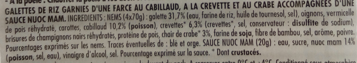 4 nems crevette-crabe et sauce nuoc mam - Ingredients