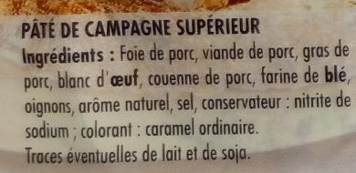 Pâté de Campagne - Ingrediënten