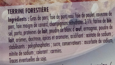 Terrine Forestière - Ingredients