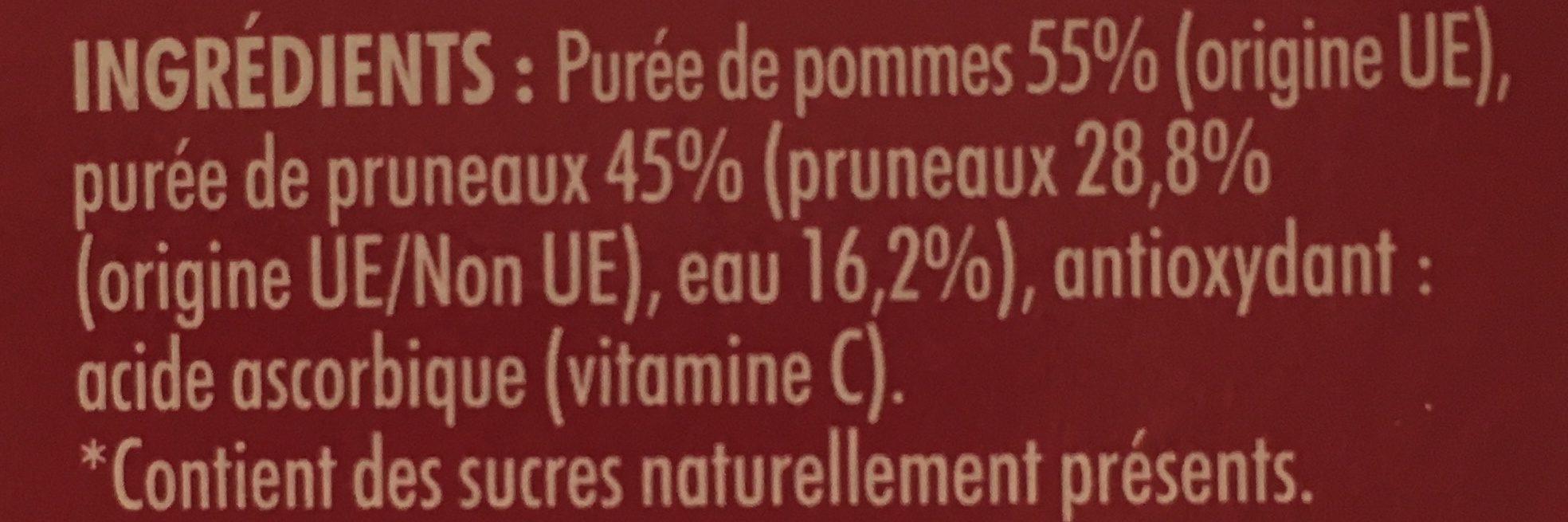 Dessert Fruitiers Pommes / Pruneaux 4 x 100 g - Ingrédients