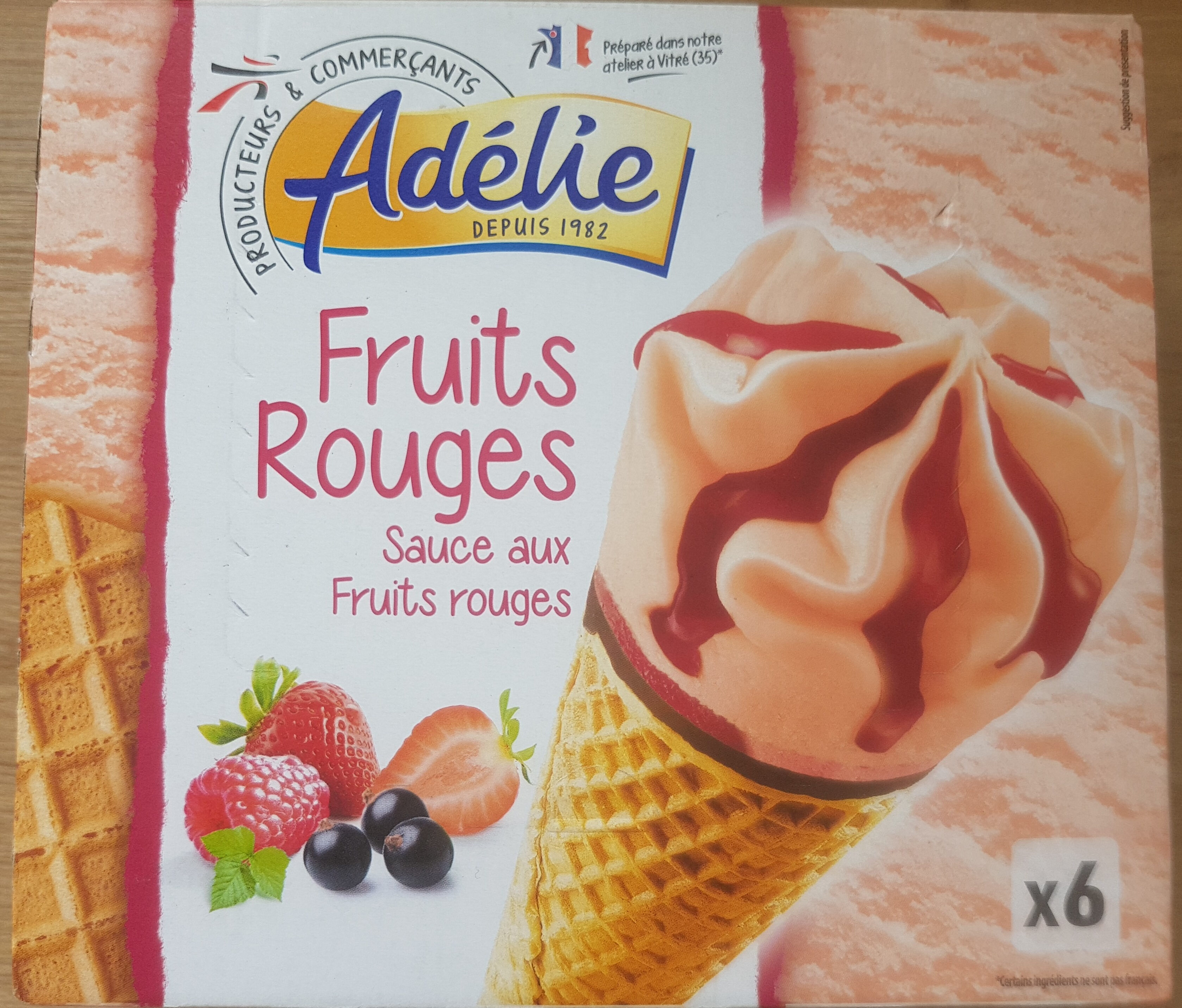 Cône, Sorbets Fruits Rouges, Cassis Fraise Framboise - Produit