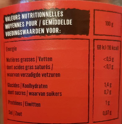 Pousses de bambou - Nutrition facts - fr