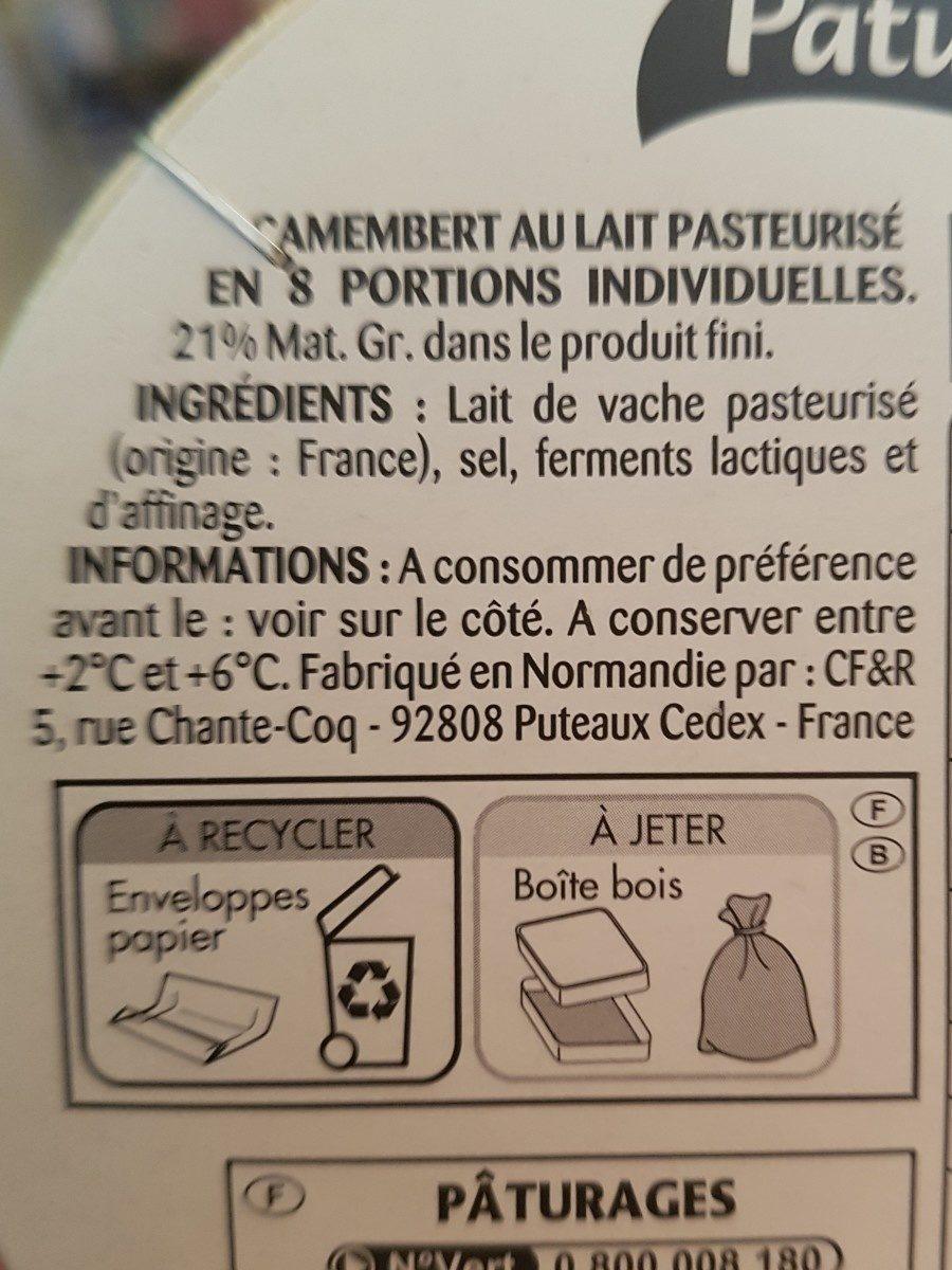 Camembert 8 portions Pâturages - Ingrédients