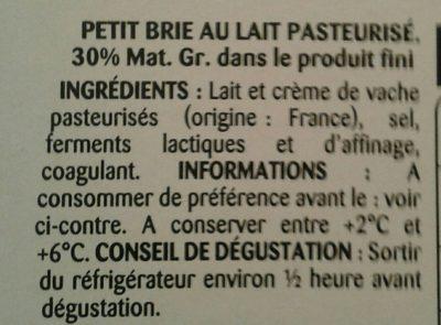 Petit Brie Pâturages - Ingrédients