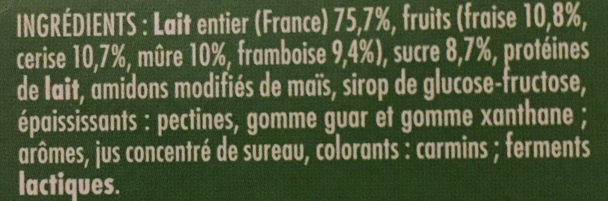 Frutimax Yaourt aux fruits (pêche, abricot, fraise, cerise, ananas, framboise)Colorants d'origine naturelle - Sans conservateur - Lait Français* hors protéines de lait - Ingrédients - fr