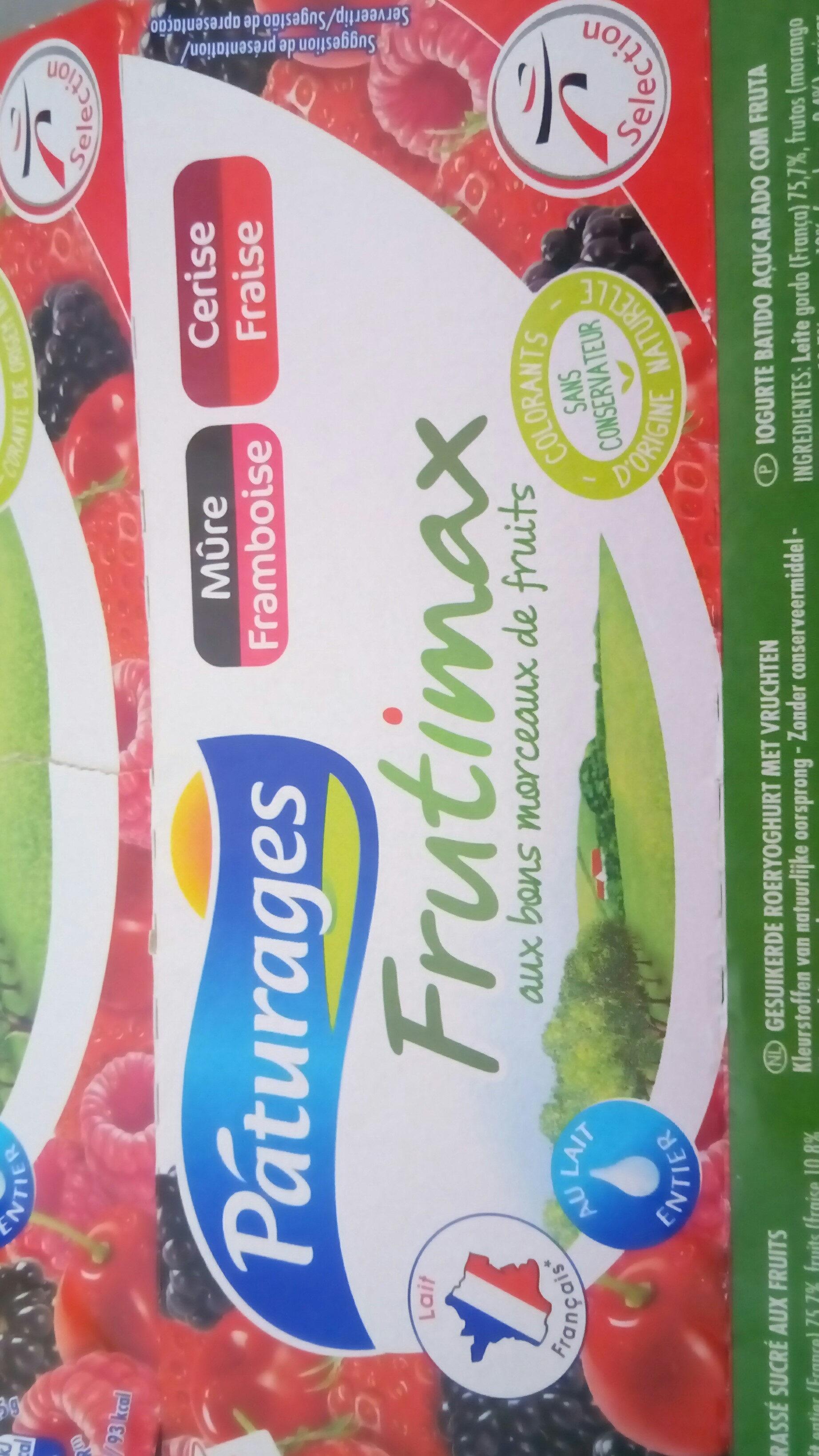 Frutimax Yaourt aux fruits (pêche, abricot, fraise, cerise, ananas, framboise)Colorants d'origine naturelle - Sans conservateur - Lait Français* hors protéines de lait - Informations nutritionnelles - fr
