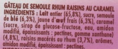 Gateau semoule Rhum raisins sur lit de caramel - Ingredients - fr