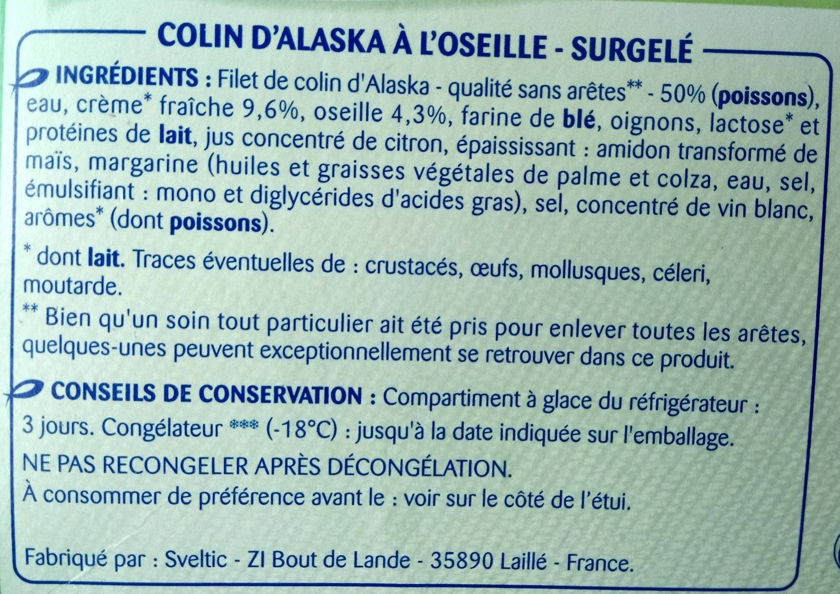 Colin d'Alaska à l'Oseille, Surgelé - Ingredients - fr