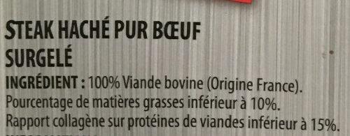Steak haché 10% mat. gr. - Ingrédients - fr