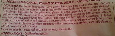 Poêlée Campagnarde (Pommes de terre Bœuf & Lardons), Surgelé - Ingredients