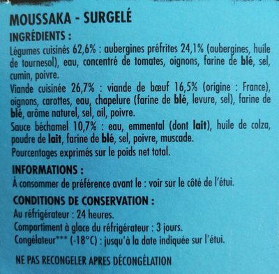 Moussaka - Ingrédients