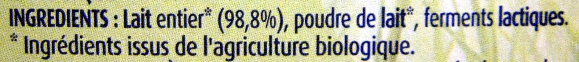 Yaourts nature au lait entier bio - Ingrédients - fr