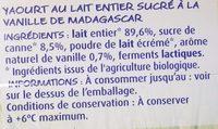 Yaourt à la vanille au lait entier - Ingrediënten