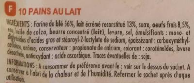 Pains au lait aux œufs frais - Ingrédients - fr