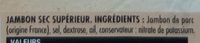 Jambon d'Auvergne - Ingredients