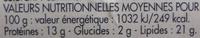 Saucisson cuit à l'ail goût fumé - Nutrition facts - fr
