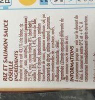 Pavé de Saumon sauce oseille et riz - Ingredients