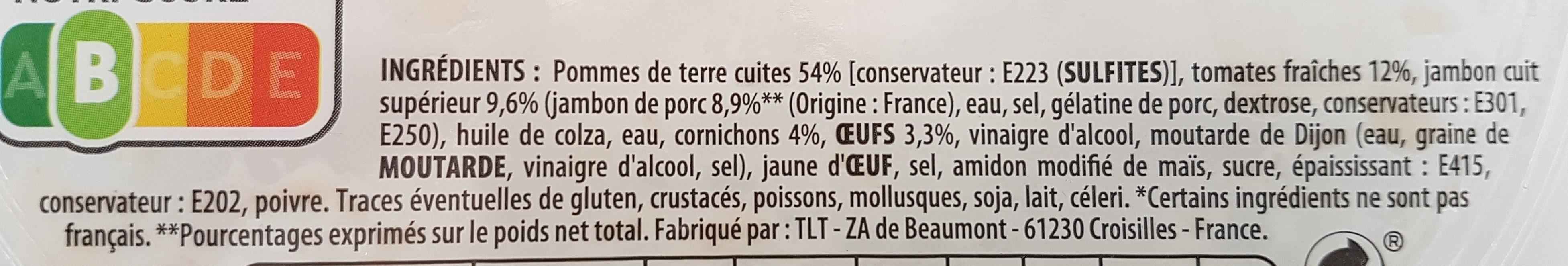 Piémontaise au jambon supérieur & tomates fraîches - Ingredients