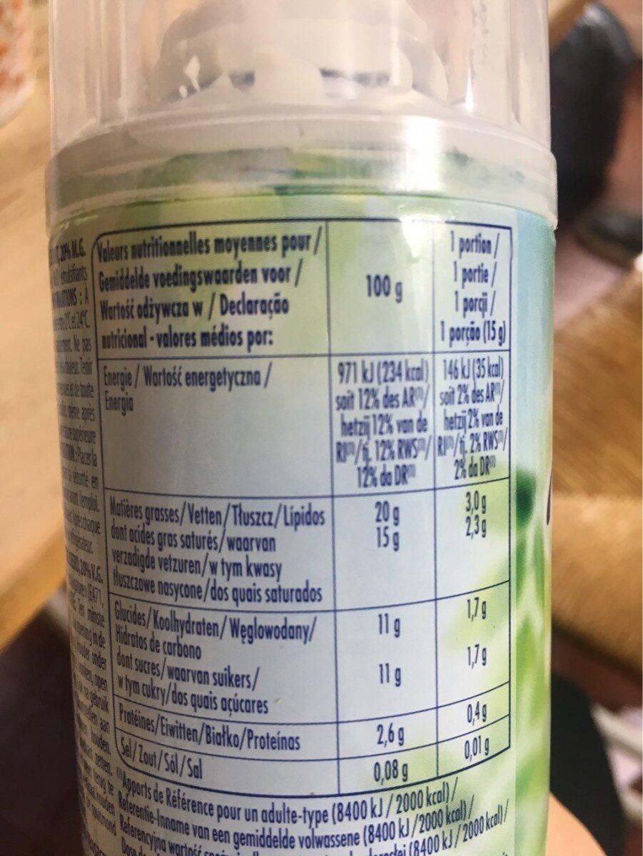 Crème Légère Fouettée - Informations nutritionnelles - fr