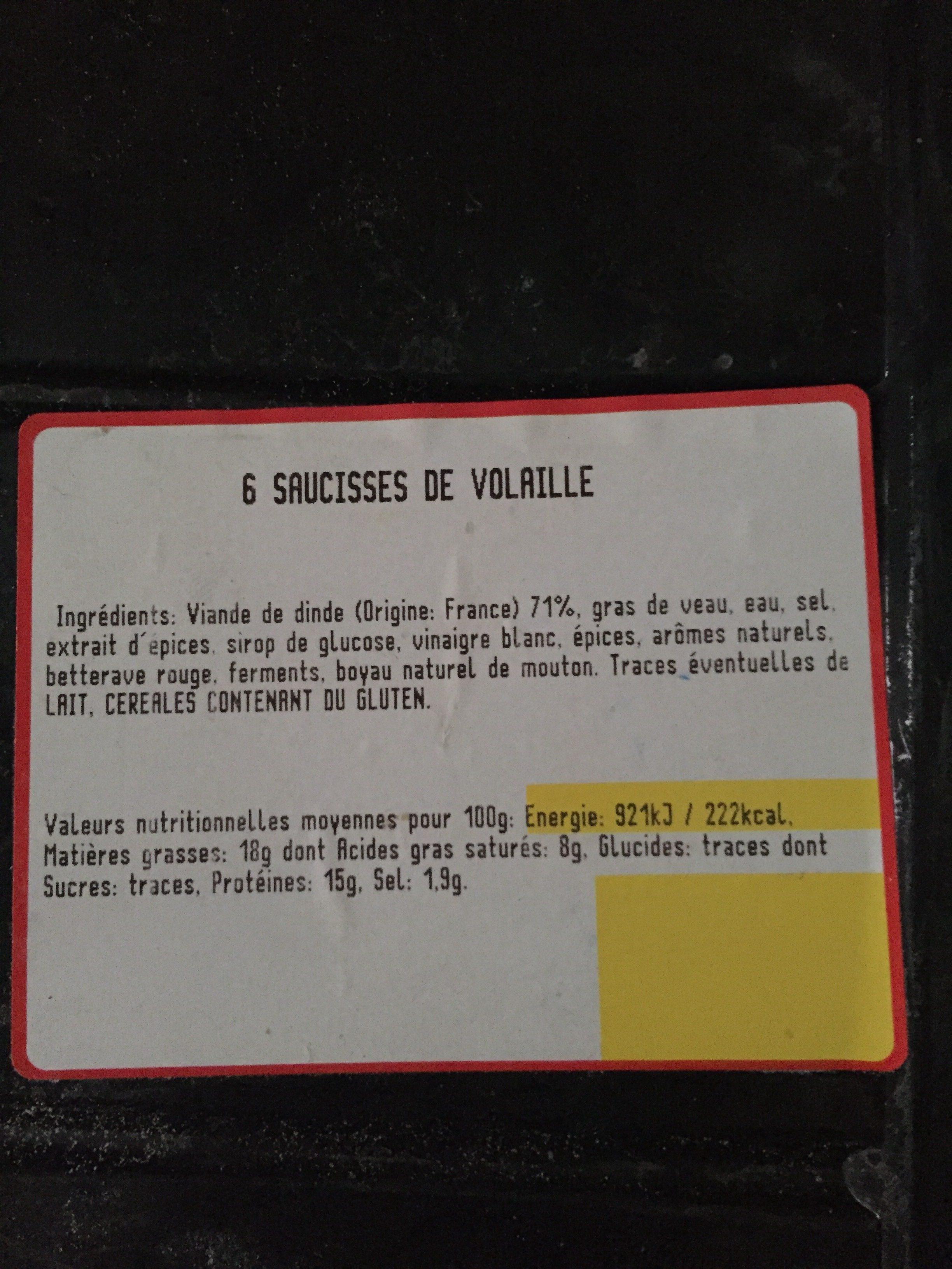 Saucisses De Volaille x 6 - Ingrédients - fr