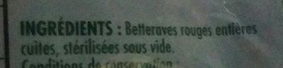 Betteraves entières épluchées - Ingredients - fr
