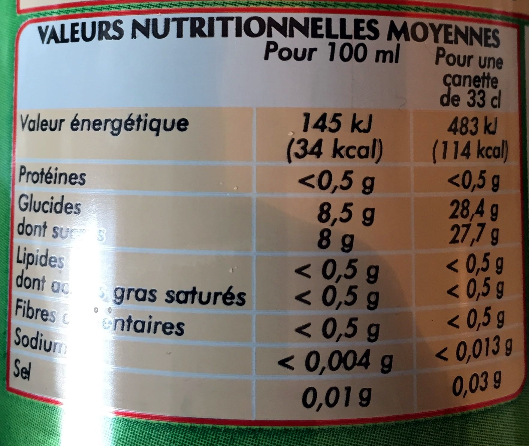 Lemon Lime - Informations nutritionnelles - fr
