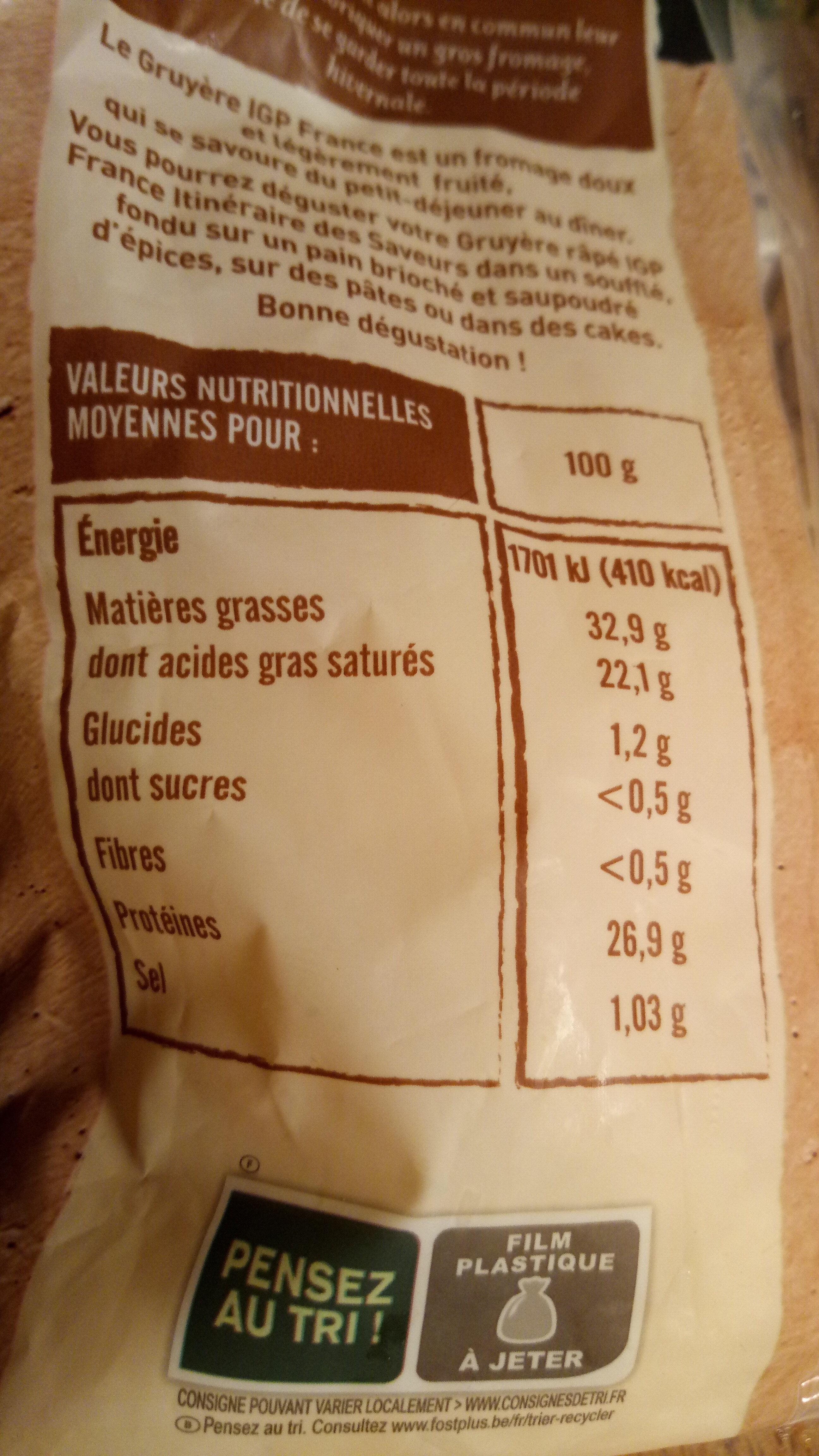 Gruyère râpé IGP - Nutrition facts - fr