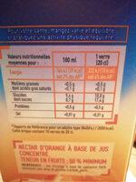 Nectar d'orange - Nutrition facts