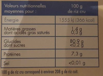 Riz de Camargue – Riz long grain - Nutrition facts - fr