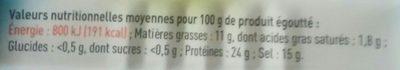 filets d'anchois allongés à l'huile d'olive - Nutrition facts