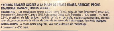 P'tit Onctueux (Fruits Rouges, Banane, Fraise, Abricot, Framboise, Pêche) x 16 - Ingredientes
