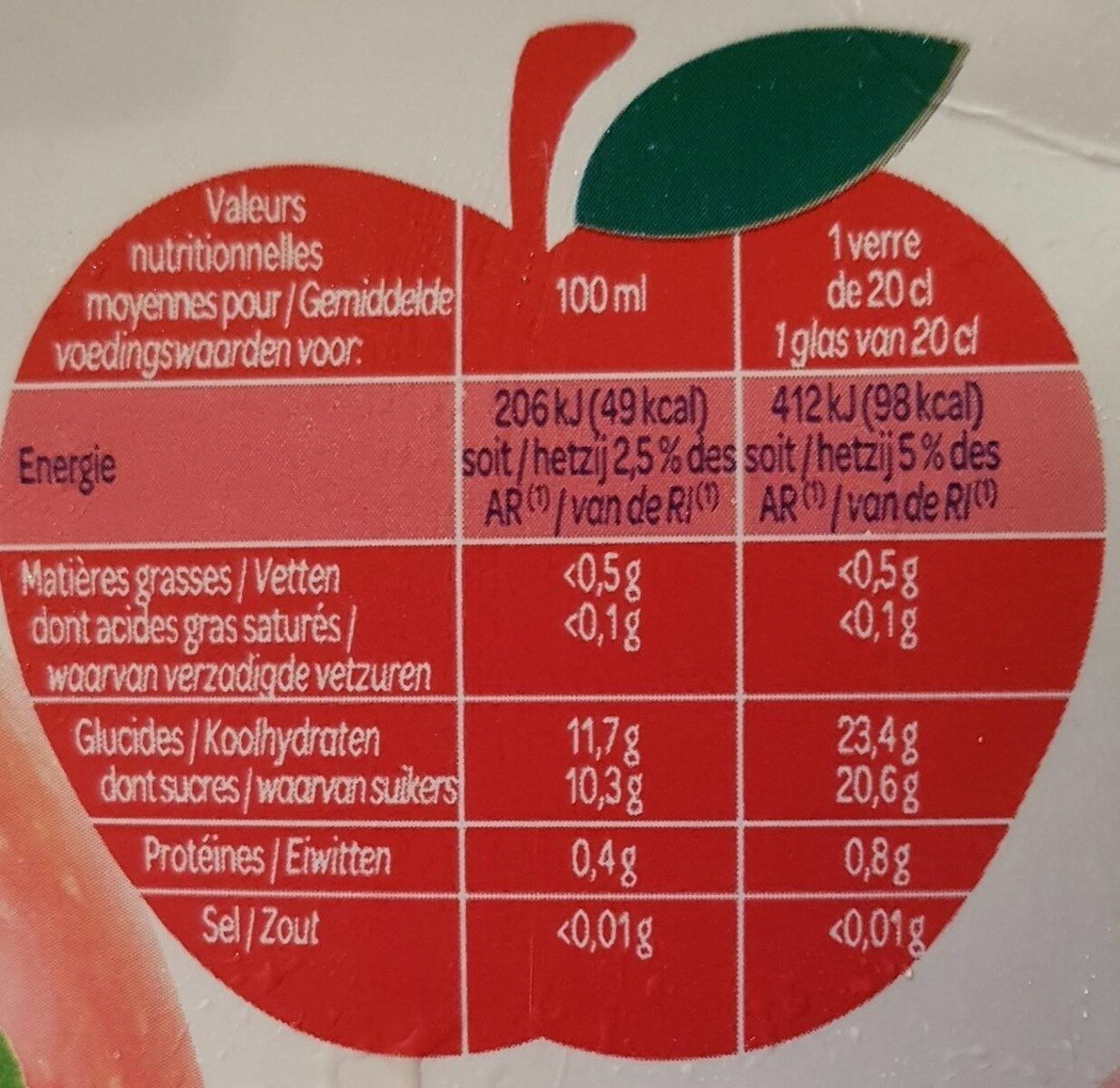 Jus de pomme à base de concentré - Informazioni nutrizionali - fr