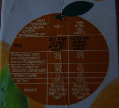 Paquito Orange - Nutrition facts