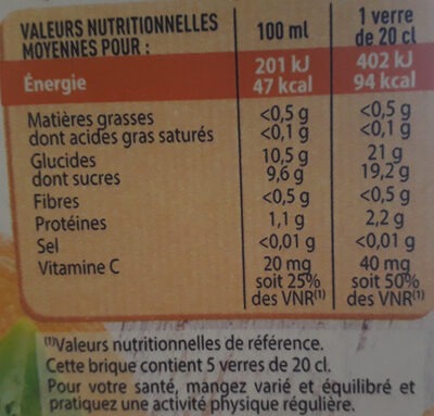 Paquito Orange - Nutrition facts - fr