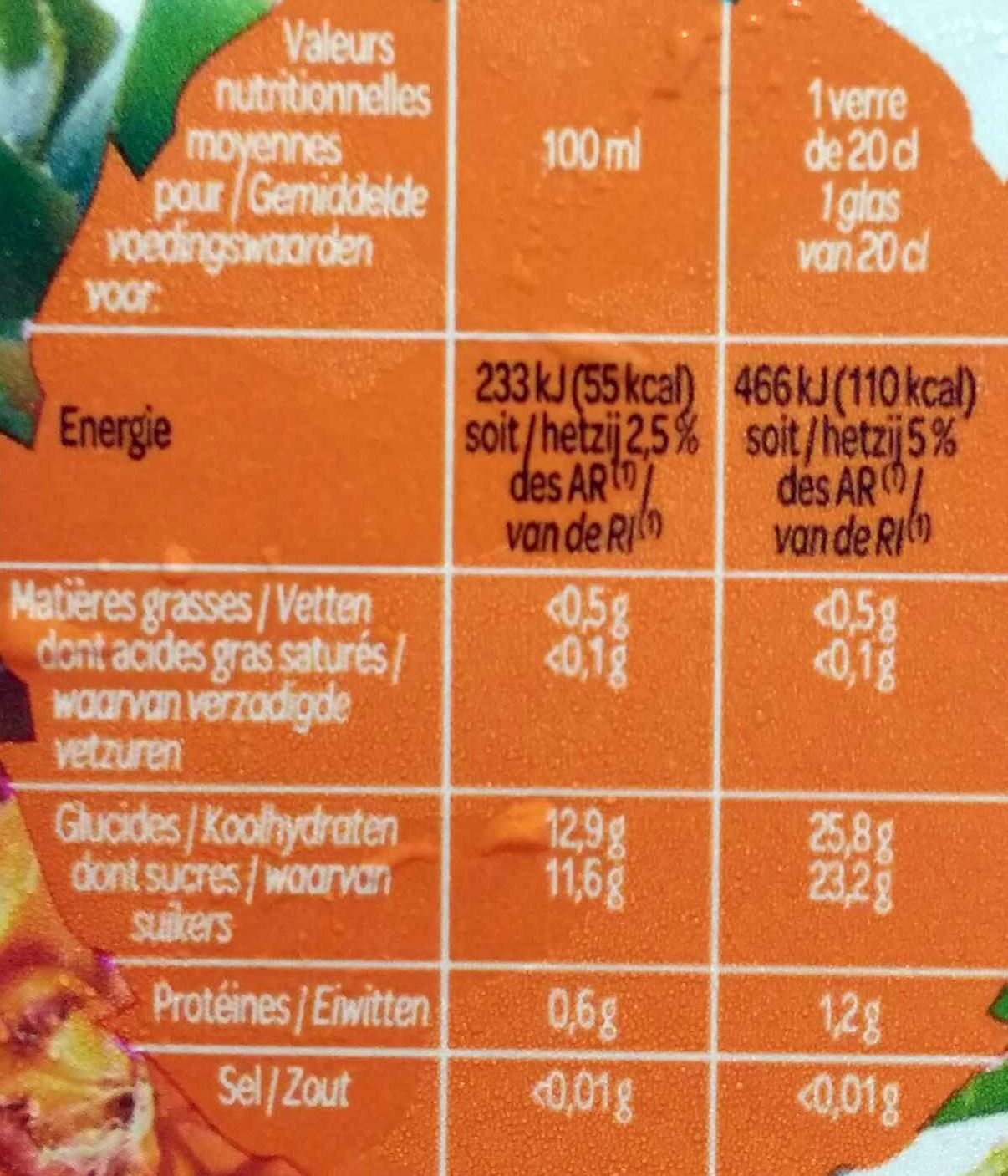 Jus d'Ananas - Nutrition facts