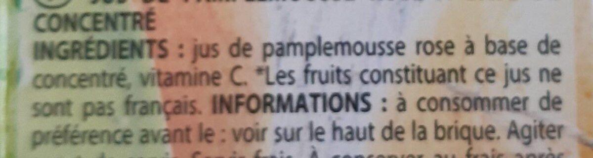 Jus de pamplemousse - Ingrédients - fr