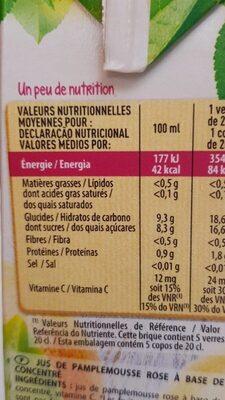 Jus de pamplemousse - Informations nutritionnelles - fr