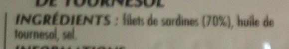 Filets de Sardines à l'Huile de Tournesol - Ingrédients - fr