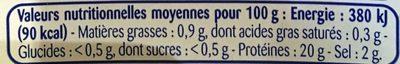 Crevettes grises décortiquées et cuites - Informations nutritionnelles