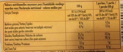 Vanille de Madagascar - Nutrition facts