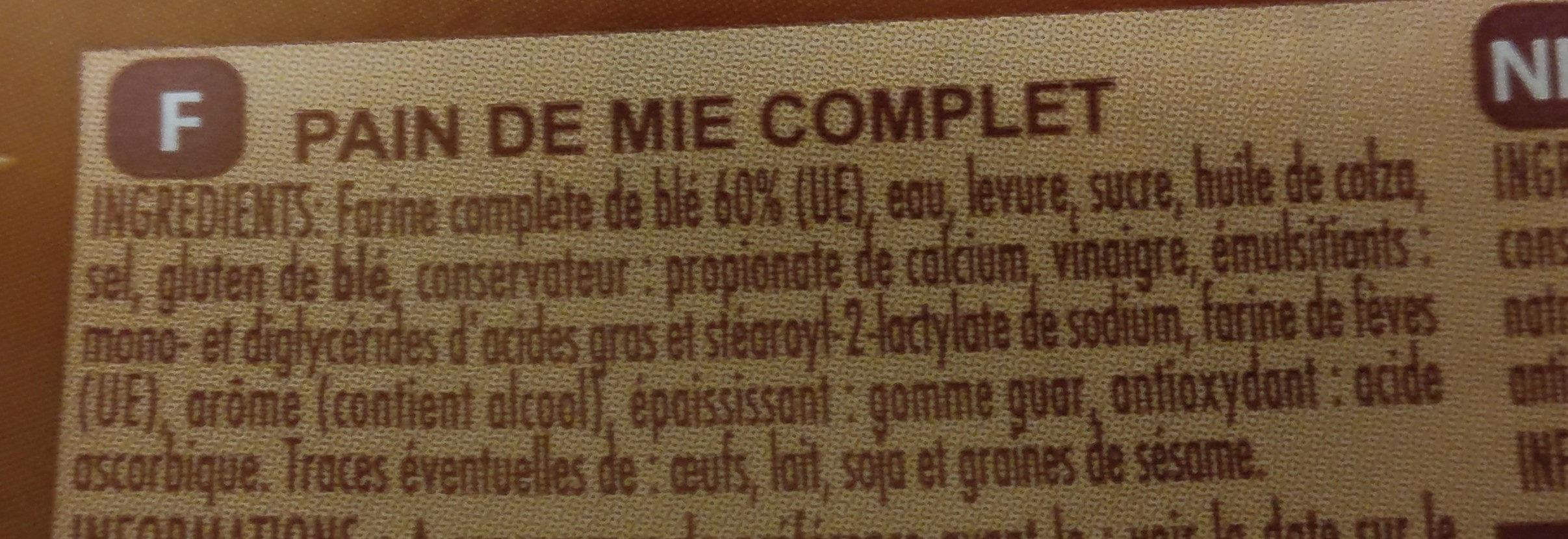 Extra Moelleux Complet - Ingrédients