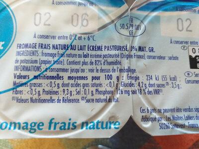 Fromage frais 0% de matière grasse - Voedingswaarden - fr