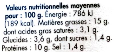 Terrine aux Saint Jacques - Nutrition facts