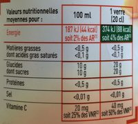 Jus d'orange - Informations nutritionnelles