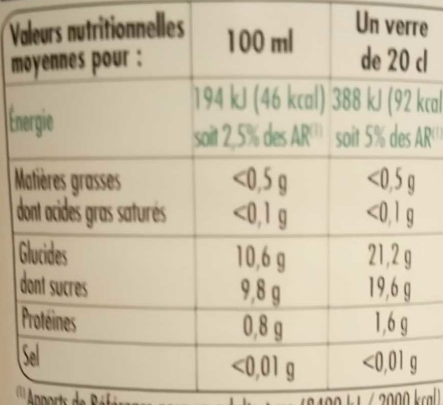 100% Pur Jus 4 agrumes - Nutrition facts