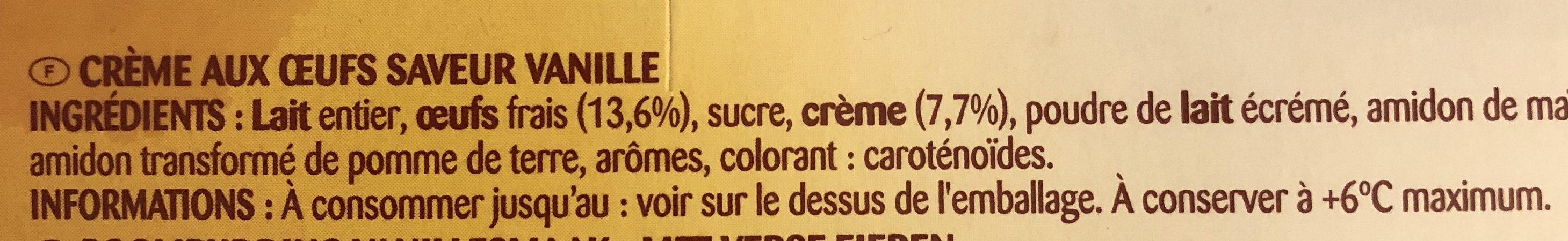 Crèmes Aux Oeufs Saveur Vanille, 4 X 125 Grammes - Ingrédients - fr
