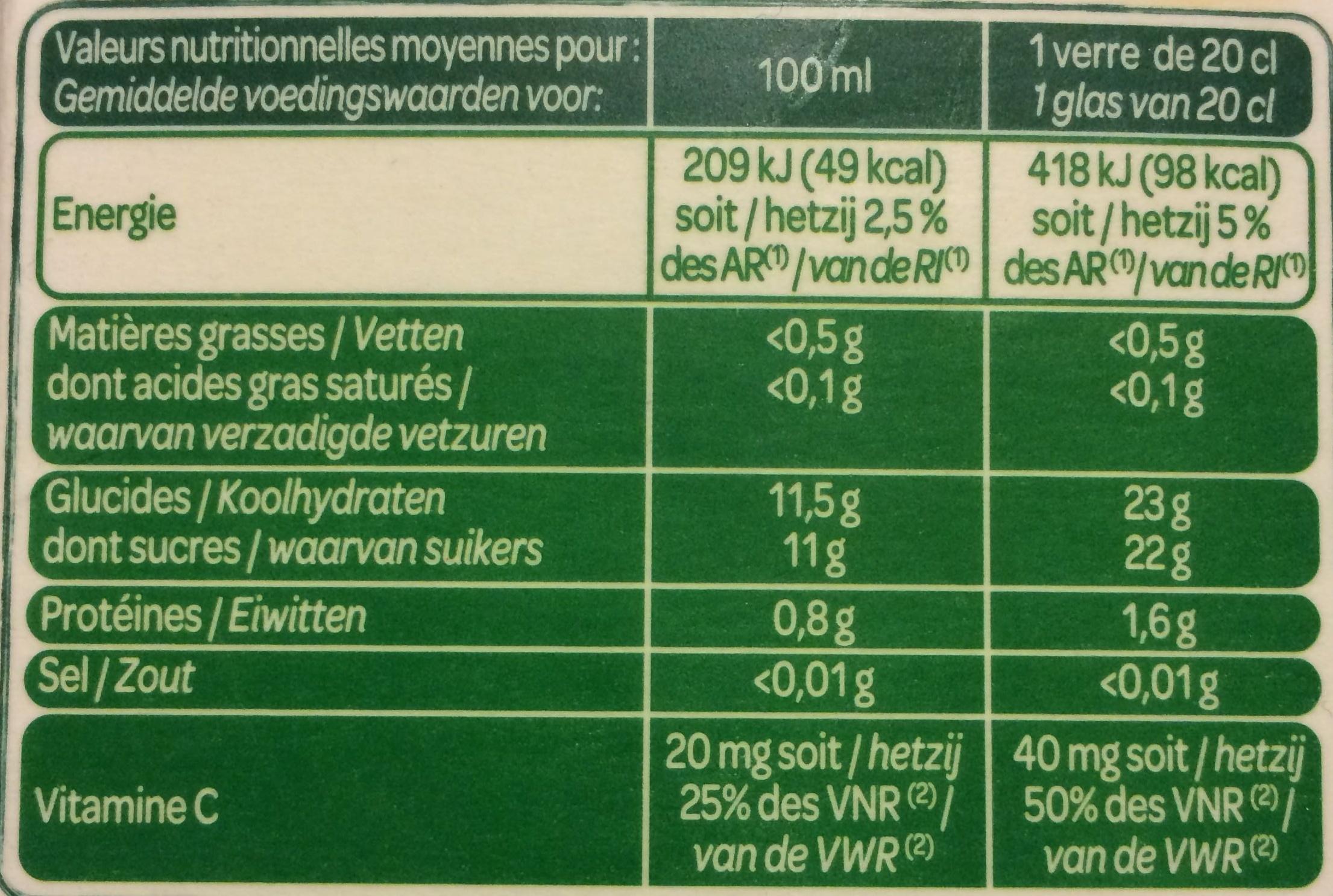 100 % Pur Jus Orange avec pulpe Floride - Nutrition facts - fr