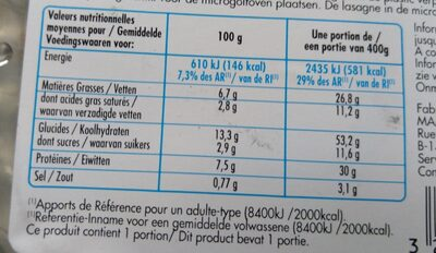 Lasagne bolognese - Voedingswaarden